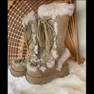 Demonia platform furry suede tall boots